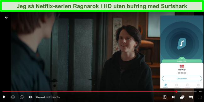Skjermbilde av Ragnarok som streamer på Netflix med Surfshark koblet til en server i Norge