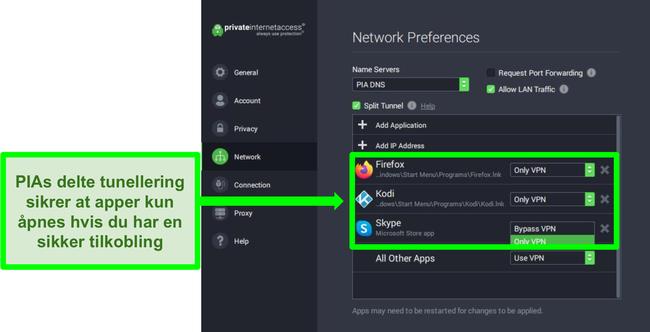 Skjermbilde av PIAs skjerm for nettverksinnstillinger med delt tunnelfilter aktivert