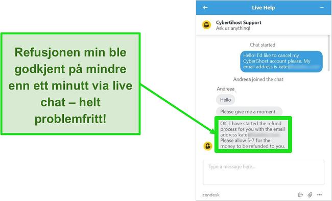 Skjermbilde av en bruker som vellykket ber om refusjon fra CyberGhost via live chat med 30-dagers pengene-tilbake-garanti