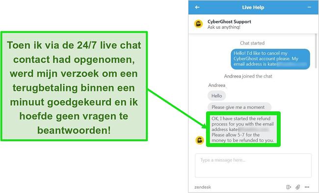 Screenshot van een gebruiker die met succes een terugbetaling aanvraagt van CyberGhost via livechat met de 30 dagen geld-terug-garantie