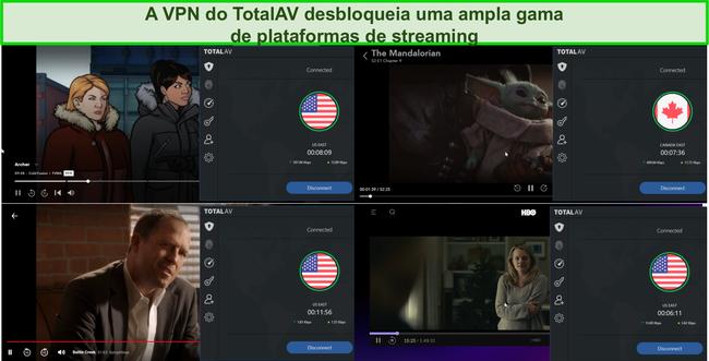 Captura de tela do Total AV VPN desbloqueando Hulu, Disney +, Netflix e HBO Max.