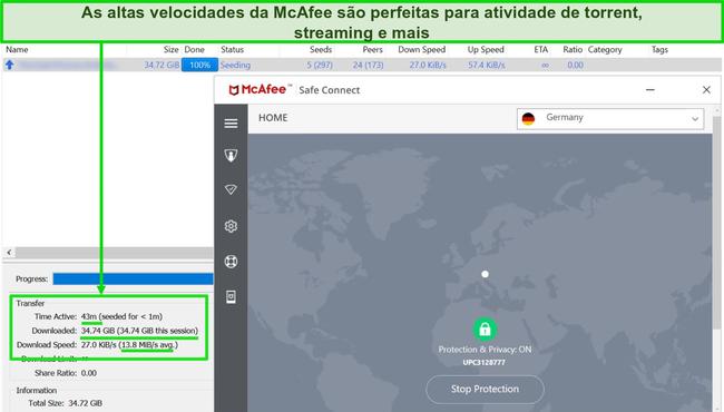 Captura de tela do McAfee VPN conectado a um servidor alemão durante o download de um arquivo torrent de 35 GB.