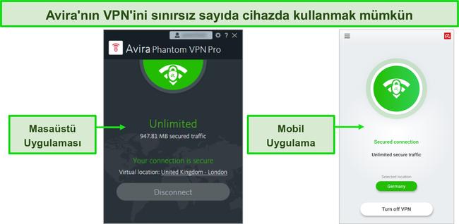 Avira Phantom VPN masaüstü ve mobil uygulamalarının ekran görüntüsü.
