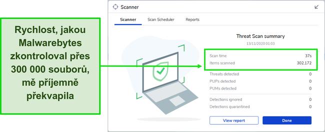 Screenshot výsledků skenování škodlivého softwaru Malwarebytes.