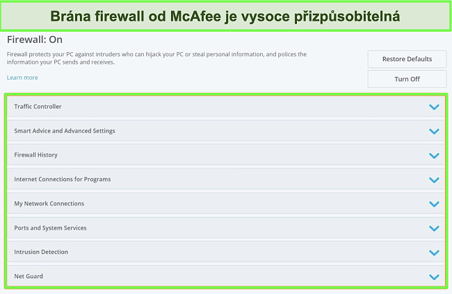 Snímek obrazovky brány firewall společnosti McAfee.