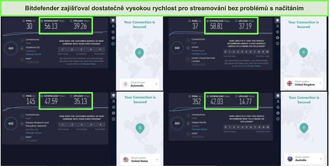 Screenshot VPN Bitdefenderu připojeného k různým serverům a výsledky testů rychlosti Ookla.
