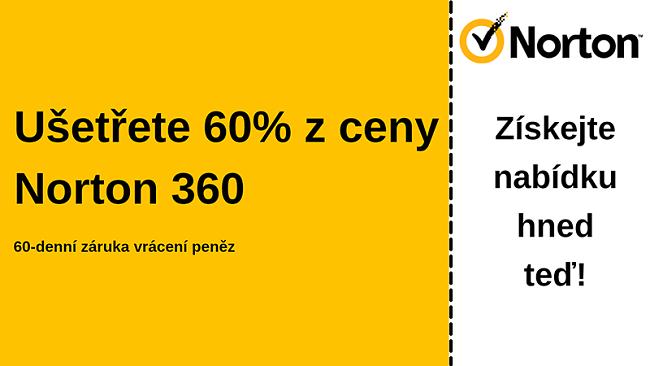 Antivirový kupón Norton 360 se 60% slevou a 60denní zárukou vrácení peněz