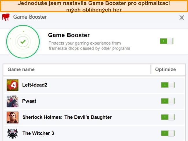 Screenshot z možností konfigurace Game Booster od BullGuard.