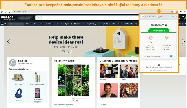 Screenshot rozšíření prohlížeče Avira Safe Shopping v prohlížeči Google Chrome.