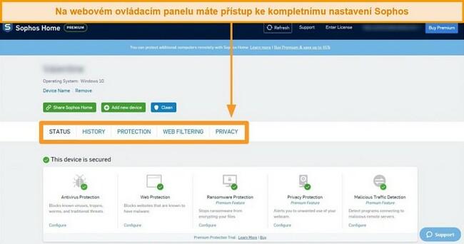 Screenshot z webového řídicího panelu společnosti Sophos