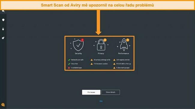 Screenshot ze stránky s výsledky Avira Antivirus Smart Scan.