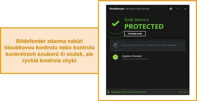 Screenshot bezplatného antivirového panelu Bitdefender.