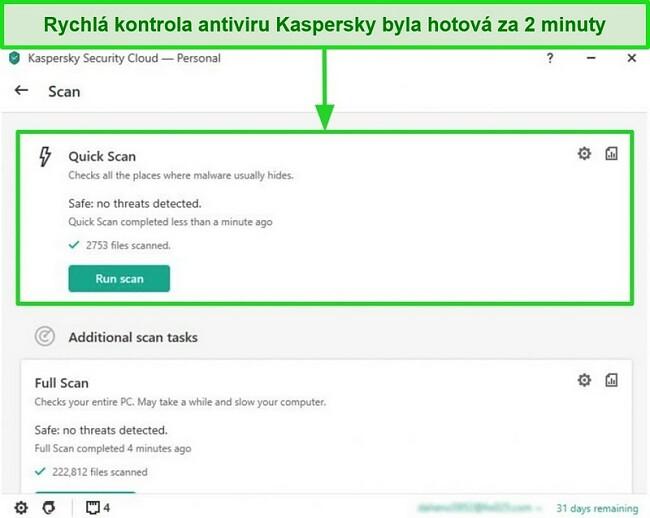 Screenshot obrazovky s výsledky rychlého skenování aplikace Kaspersky Antivirus pro stolní počítače.