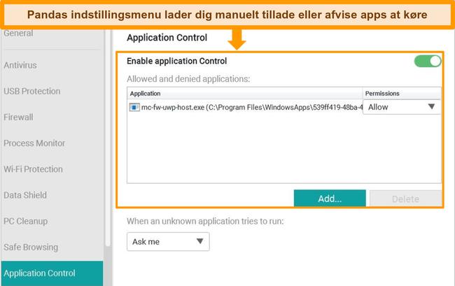 Skærmbillede af Pandas konfigurationsmenu til Application Control.