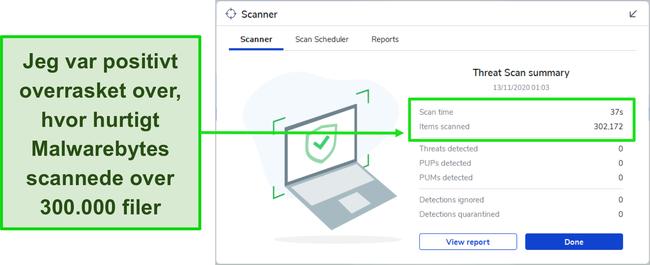 Skærmbillede af Malwarebytes Threat Scan-resultater.