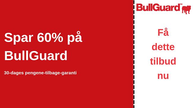 BullGuard antivirus-kupon med 60% rabat og 30-dages pengene-tilbage-garanti