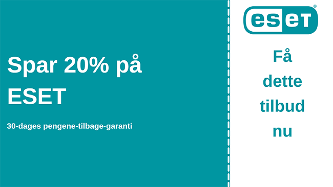 ESET antiviruskupon med 20% rabat og 30 dages pengene-tilbage-garanti