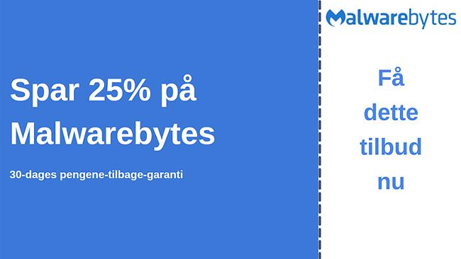 Malwarebytes antiviruskupon med 25% rabat og 30 dages pengene-tilbage-garanti