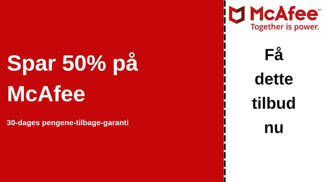 McAfee antivirus-kupon til op til 50% rabat med en 30-dages pengene-tilbage-garanti