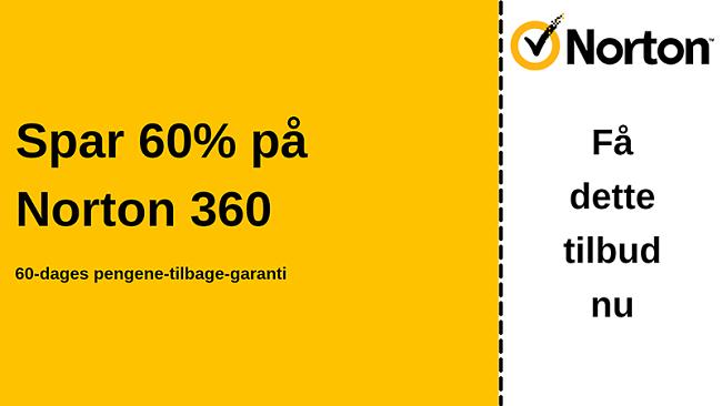 Norton 360 antivirus-kupon til 60% rabat med en 60-dages pengene-tilbage-garanti