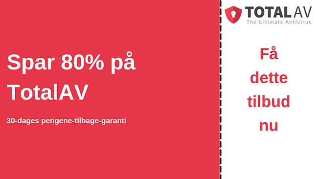TotalAV antivirus-kupon med op til 80% rabat og 30-dages pengene-tilbage-garanti