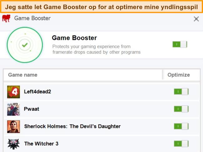 Skærmbillede af BullGuards konfigurationsindstillinger for Game Booster.