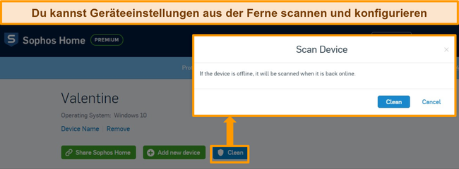 Screenshot des Sophos Antivirus-Dashboards mit hervorgehobenem Remote-Scan