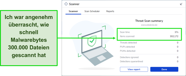 Screenshot der Ergebnisse des Malwarebytes Threat Scan.