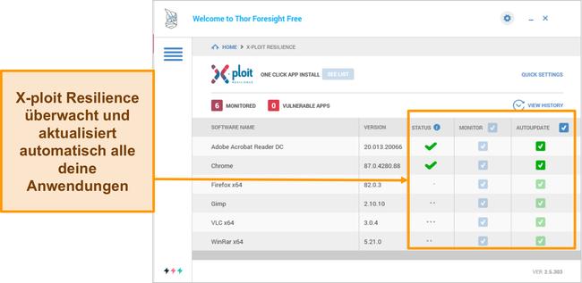 Screenshot der Xploit Resilience-Funktion von Heimdal.