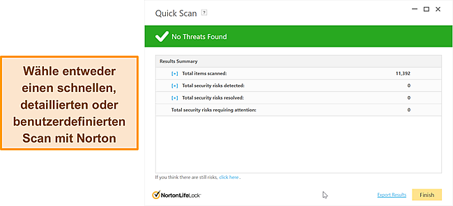 Nortons Anti-Malware-Scanoptionen.