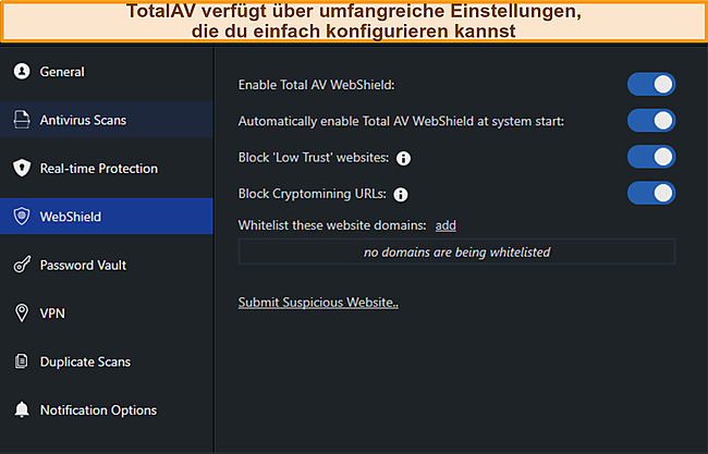 Screenshot von TotalAvs Settings Manus.
