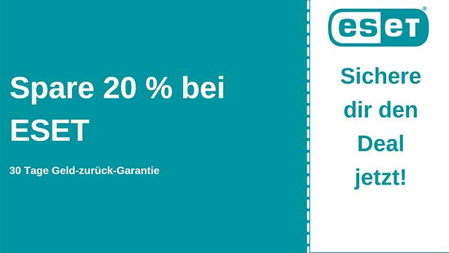 ESET Antivirus-Gutschein mit 20% Rabatt und 30-tägiger Geld-zurück-Garantie