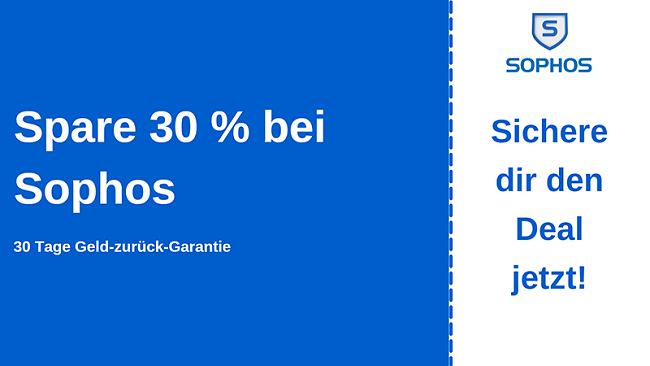 Sophos Antivirus-Gutschein mit 30% Rabatt und 30-tägiger Geld-zurück-Garantie