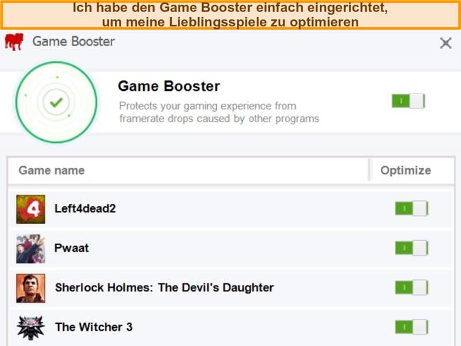 Screenshot der Game Booster-Konfigurationsoptionen von BullGuard.