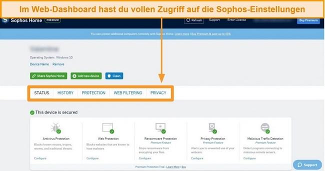 Screenshot des webbasierten Dashboards von Sophos