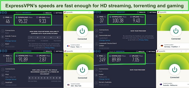 Screenshots of Ookla speed tests with ExpressVPN connected to servers in France, Germany, USA, and Australia.