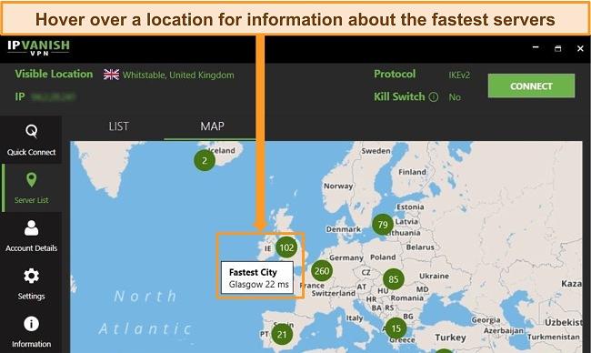 Screenshot of IPVanish app with UK servers highlighted on map interface.