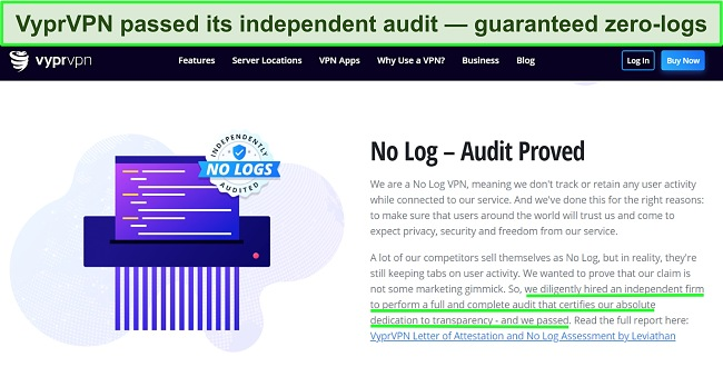 Screenshot of VyprVPN's website detailing its independent audit and pass result.
