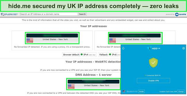 Screenshot of Hide.me connected to a US server with the results of an IP leak test showing no data, IP, or DNS leaks.