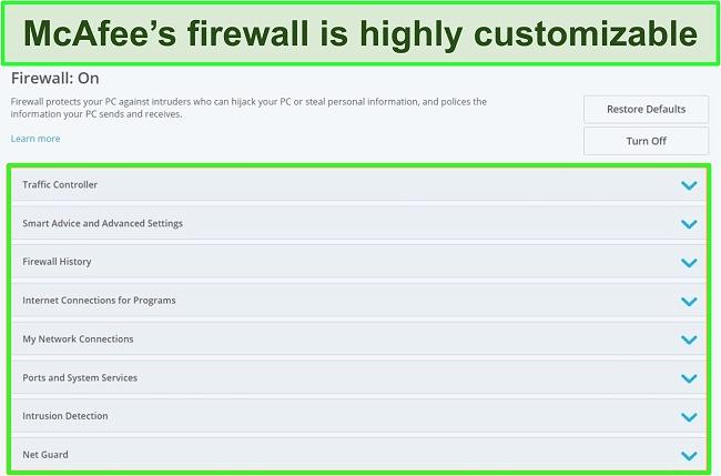 Screenshot of McAfee's firewall.
