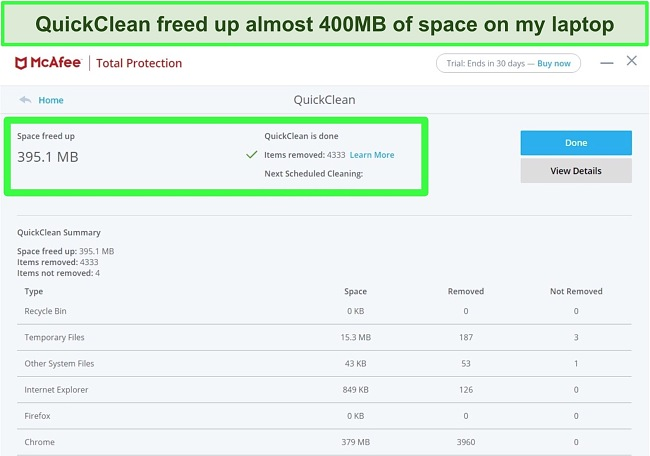 Screenshot of McAfee's QuickClean feature.