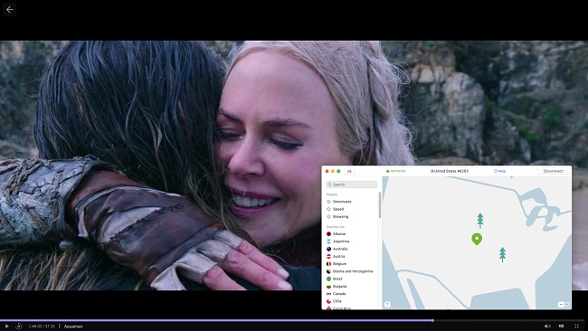 Screenshot of NordVPN connecting to a US server and unblocking the movie Aquaman on HBO Max