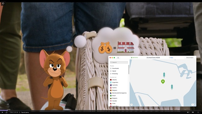 Screenshot of NordVPN connecting to a US server and unblocking the show Tom & Jerry on HBO Max