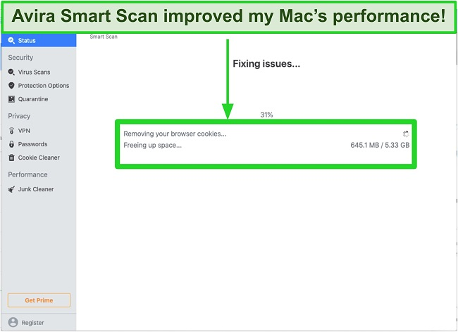 Screenshot of Avira's smart scan removing browsing cookies on Mac