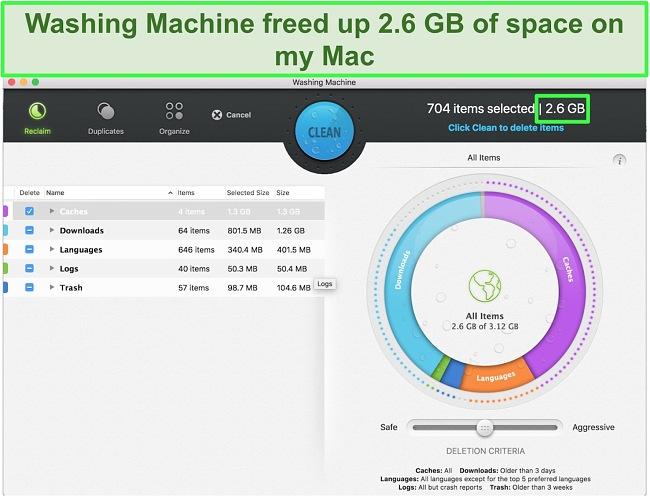 Screenshot of Intego's Washing Machine feature optimizing Mac