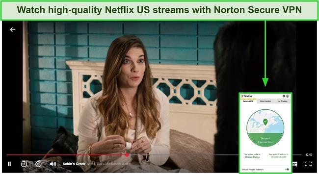 Screenshot of Norton Secure VPN unblocking US Netflix