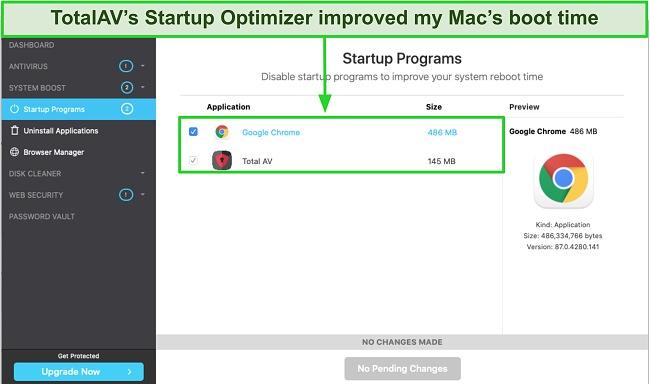 Screenshot of TotalAV startup optimizer running on Mac