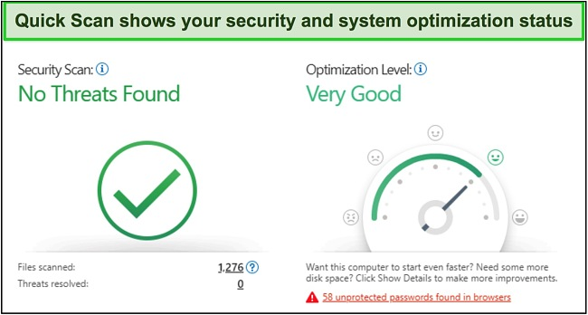 Screenshot of Trend Micro quick scan showing security and system optimization information