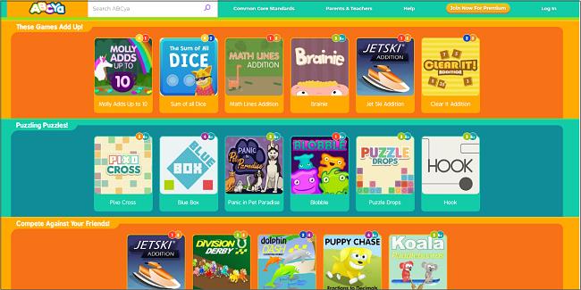 Screenshot of ABCYa! main page