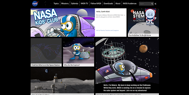 Screenshot of NASA Kids main page